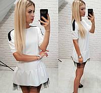 Женское платье креп дайвинг подклад фатин белое