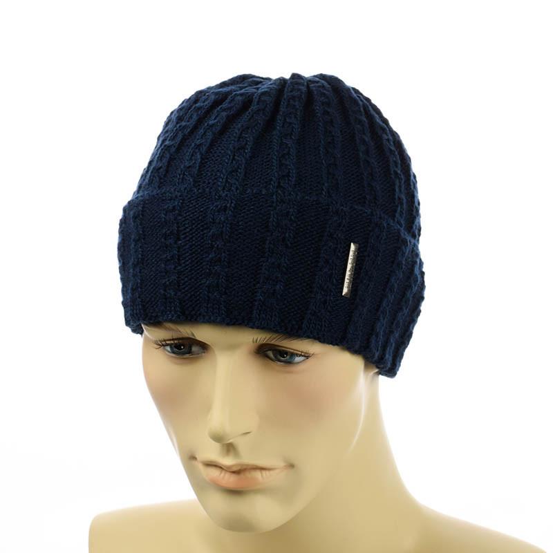 Мужская шапка с отворотом MID темно-синий