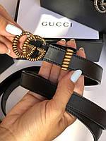 Женский кожаный ремень Gucci с пряжкой-логотипом золото 2 см (реплика), фото 1