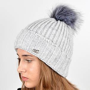 """Вязаная женская шапка """"Emma"""" с меховым помпоном, фото 2"""