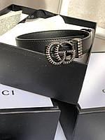 Женский кожаный ремень Gucci с пряжкой-логотипом серебро 2 см (реплика), фото 1