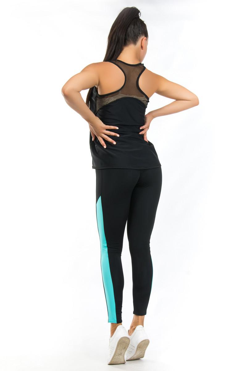 Чёрная спортивная майка борцовка в комплекте с лосинами