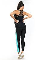 Чёрная спортивная майка борцовка в комплекте с лосинами, фото 1