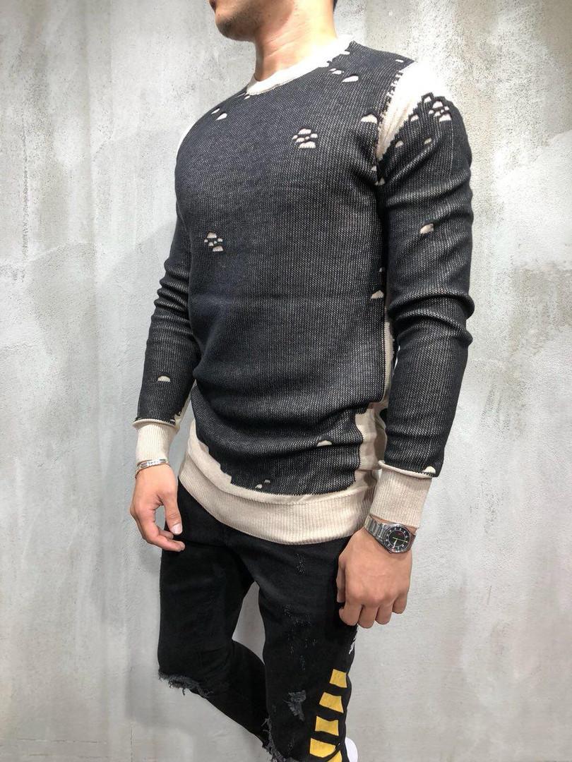 Свитер винтажный мужской бело - серый