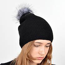 """Вязаная женская шапка """"Doris"""" с меховым помпоном, фото 3"""