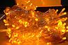 Внутренняя Гирлянда светодиодная нить, 100 led  белый прозрачный провод - цвет желтый