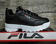 Женские кроссовки черные/ белые в стиле Fila Disruptor 2  (размеры в описании)