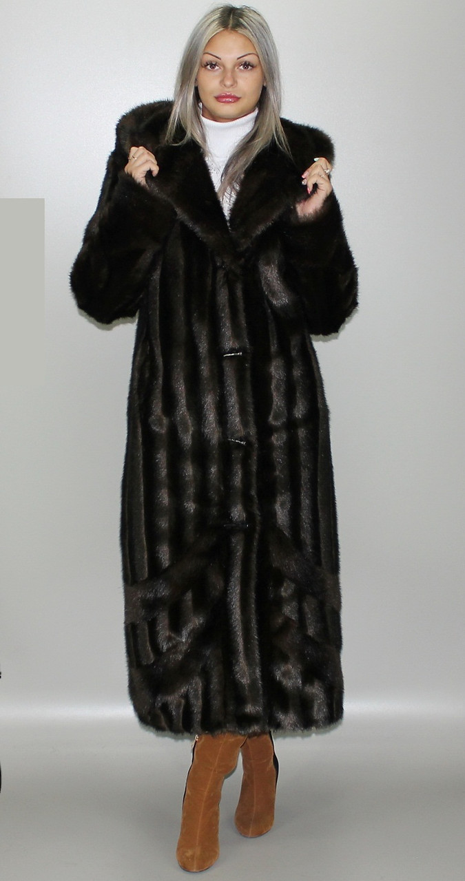 Шуба с капюшоном,коричневая норка 44-46,48-50,52-54,56-58