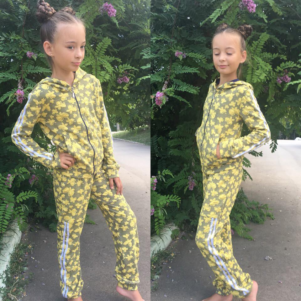 Детский спортивный костюм, 3-Д бабочки с лампасами  / 3 цвета арт 6470-442