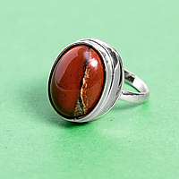 Яшма красная, 16*12 мм., серебро 925, кольцо, 914КЯ
