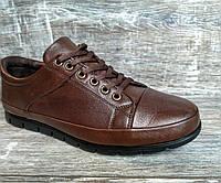 Натуральная кожа! Мужские туфли Random на шнурке кор./черн. из натуральной кожи