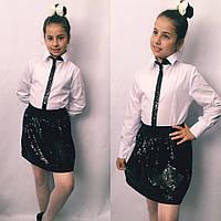 010248fe988 Нарядная белая блузка для девочки декорировано пайеткой   2 цвета арт  6474-442