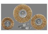 Набір щіток для дрилі, 3 шт., 3 плоскі, 50-63-75 мм, зі шпильками, металеві// MTX