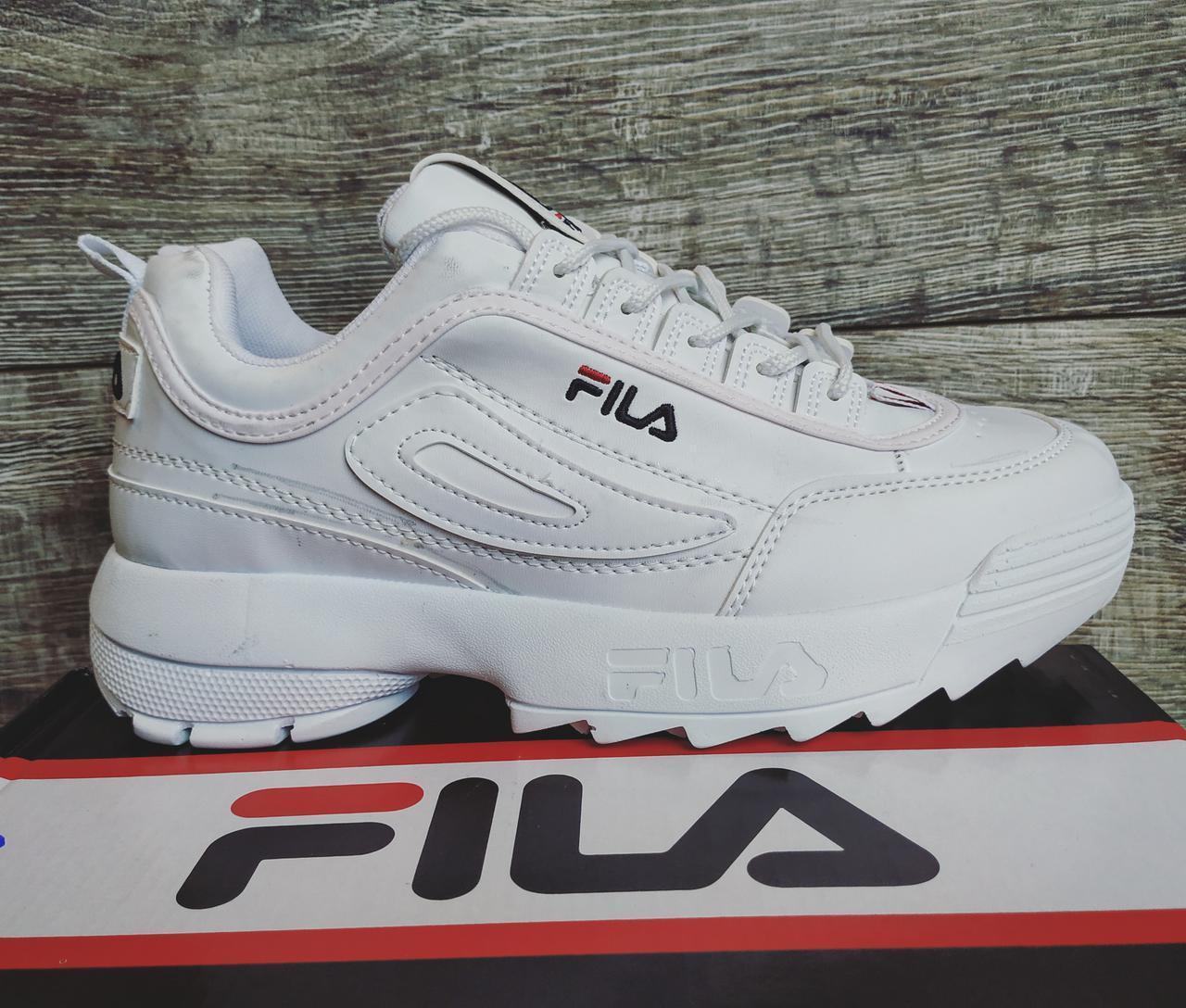 Мужские трендовые кроссовки белые Fila Disruptor 2 кожа 100% копия фила 27e5bffee3081