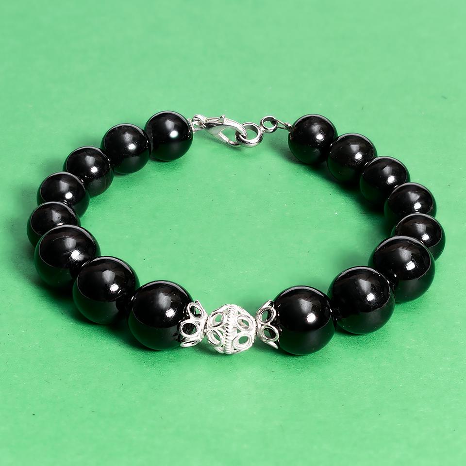 Турмалин черный, Ø10, 12 мм., серебро, браслет, 443БРТ