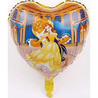 """Фольгированный шарик сердце """"Красавица и чудовище"""" 45см"""