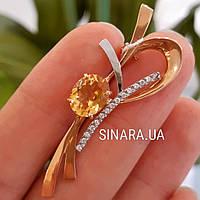 Золотая брошка с Цитрином - Золотая брошь с натуральным цитрином