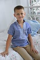 Вишиванка дитяча для хлопчика Станіслав, джинс-льон
