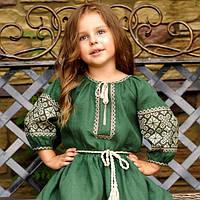 Детское зеленое платье для девочки из натурального льна, фото 1