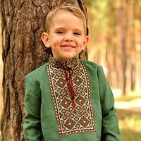 Зеленая вышиванка детская для мальчика с длинным рукавом, фото 1