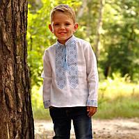 Вышиванка детская для мальчика из натурального льна с воротником-стойкой, фото 1