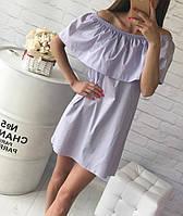 Летнее хлопковое платье с воланом Сирень