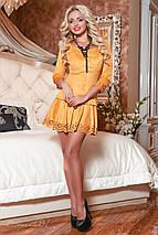 Горчичное замшевое платье с перфорацией (2063 svt), фото 2