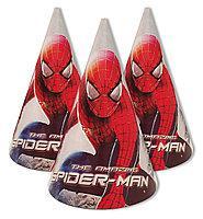 Колпачки праздничные детские бумажные для дня рождения Человек Паук 10 шт