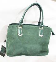 Женская сумка зеленого цвета, натуральная замша