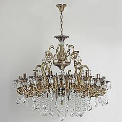 Люстра хрустальная бронзовая со свечами для зала, большой комнаты