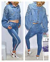 Куртка-МОМ джинсовая женская укороченная-болеро размеры M-XL Серии