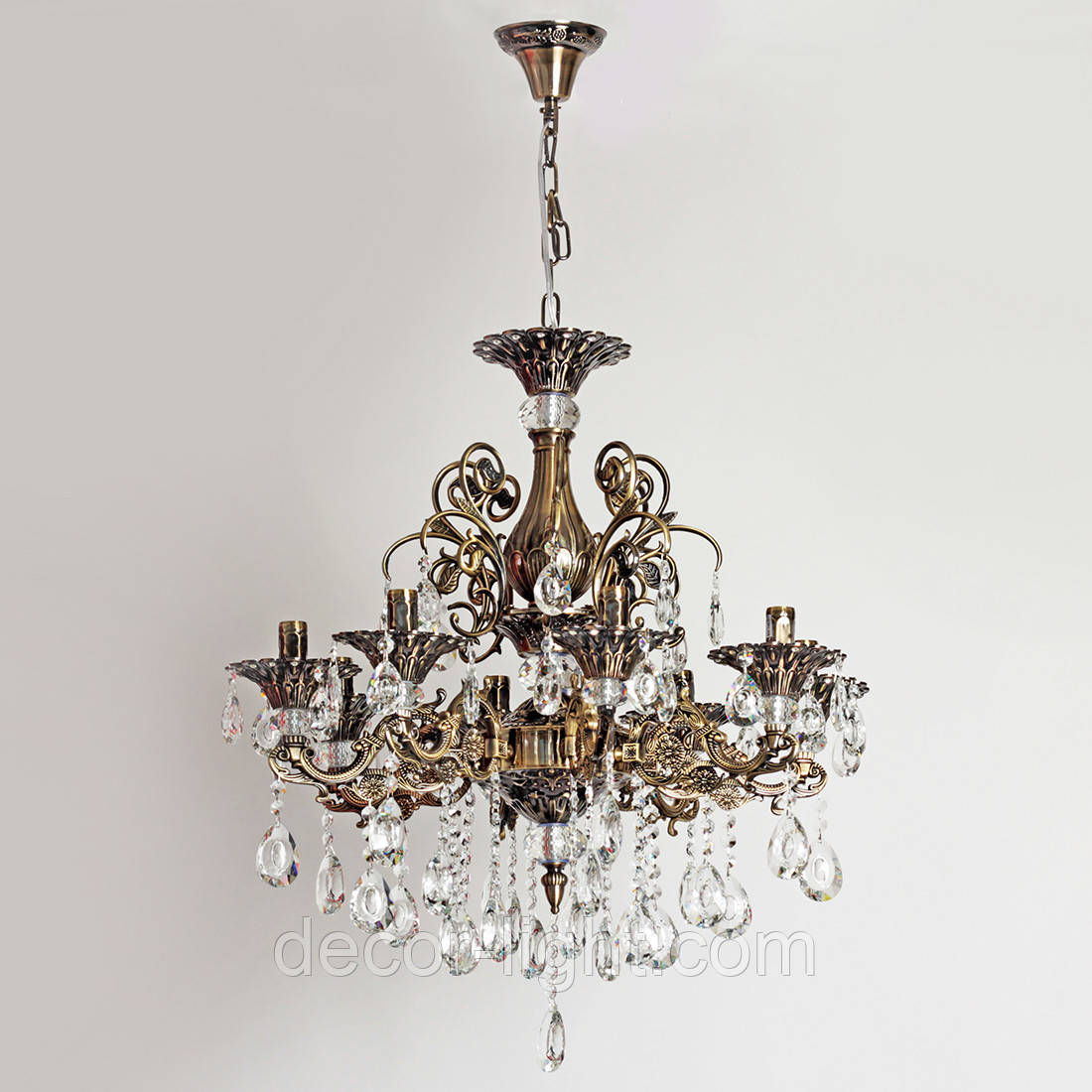 Люстра хрустальная бронзовая со свечами для зала, большой комнаты, 8-ми ламповая