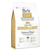 Сухой корм для пожилых собак Brit Care GF Senior Light Salmon & Potato, 1 кг
