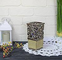 Ваза керамическая золотая с ажурной вставкой, фото 1
