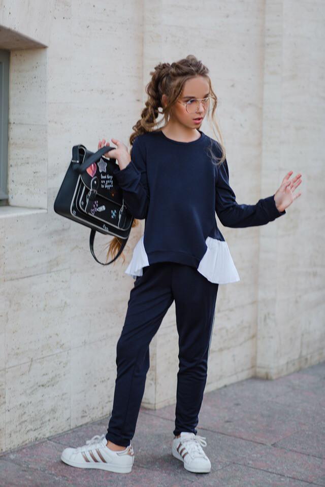 Школьный костюм для девочки свитшот+штаны