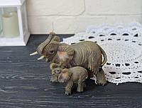 Фигурка пары слонов курамических серых, фото 1