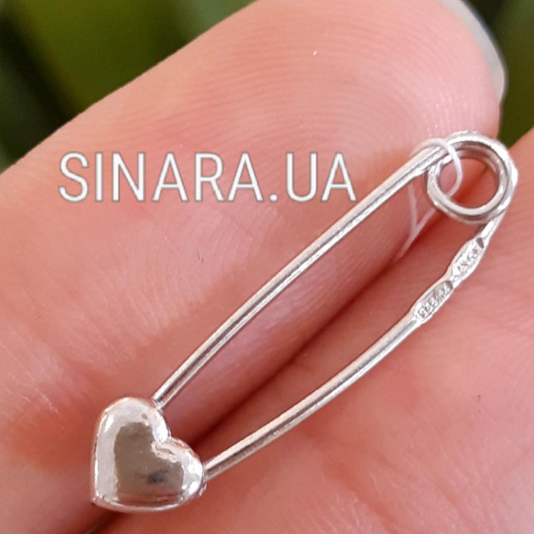 Серебряная булавка Сердце