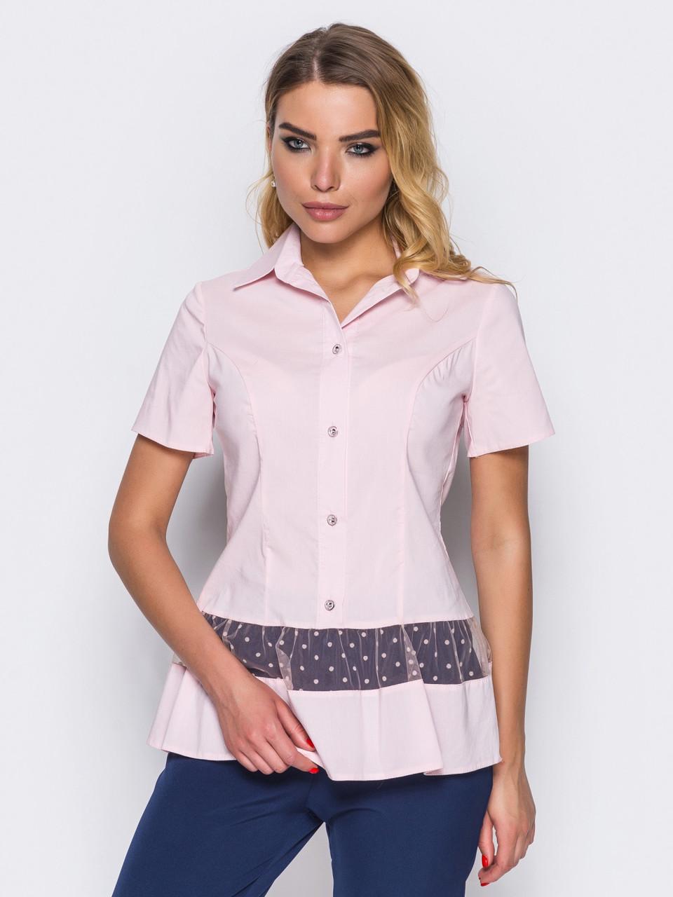 dbe740a0505 Модная женская блузка с отложным воротником и короткими рукавами р ...