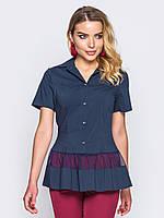 90ab6839cf6 Темно-синяя женская блузка с отложным воротником и короткими рукавами р .44
