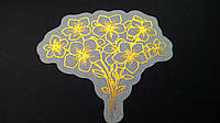 Наклейка с фольгированием на кальке цветы