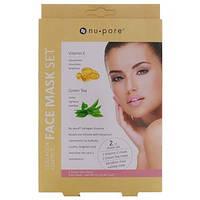 Коллагеновые маски для лица, набор из 2 масок - витамин Е и зеленый чай (25 г) каждая Nu-Pore