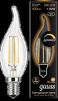 Светодиодная лампа Gauss fil.cand.tail. E14 5W 2700K 185-265V димируемая