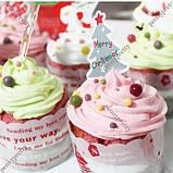 Топперы на капкейки, кексы, сладости. Елочки 10 шт., фото 3