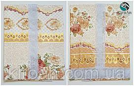 """Клеенчатая скатерть для стола на тканевой основе """"Золотые букеты роз"""" (624004)"""