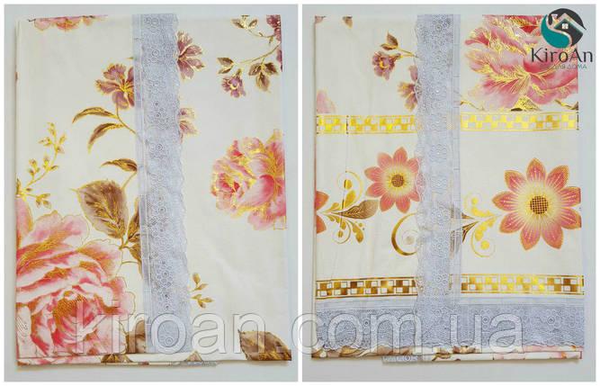 """Клеенчатая скатерть для стола на тканевой основе """"Розовые цветы"""" (624005), фото 2"""