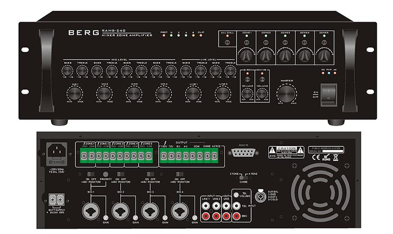 Мікшируючий підсилювач 240Вт, BERG, RAMS-240