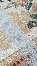 """Клеенчатая скатерть для стола на тканевой основе """"Золотисто-бирюзовая"""" (624009), фото 2"""