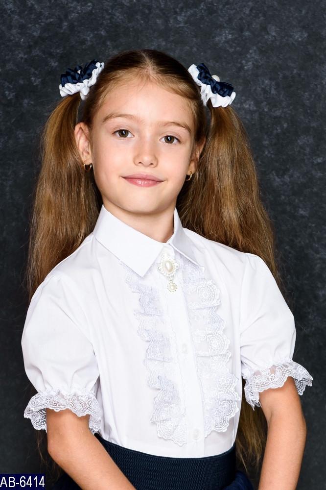 Блузка школьная с коротким рукавом Кружево Размер: 122, 128 ткань: коттон