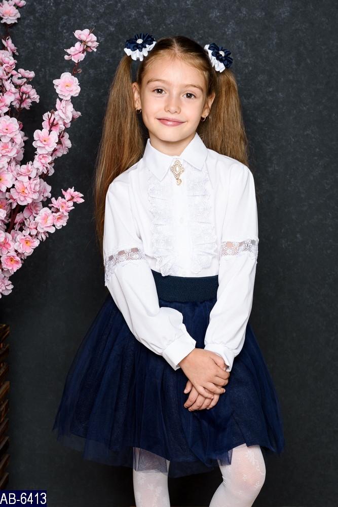 Блузка школьная с длинным рукавом Кружево Размер: 122, 128 ткань: коттон