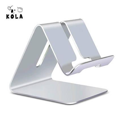 Металлическая подставка-держатель Kola для телефона или планшета (Серебристая), фото 2